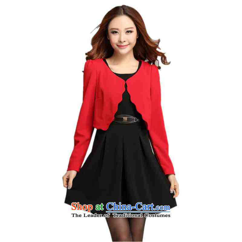 C.o.d. Package Mail Plus hypertrophy code two kits dresses 201 spring outfits Red Shawl, forming the large skirt vest temperament skirt black skirt OL聽XXL around 922.747 150