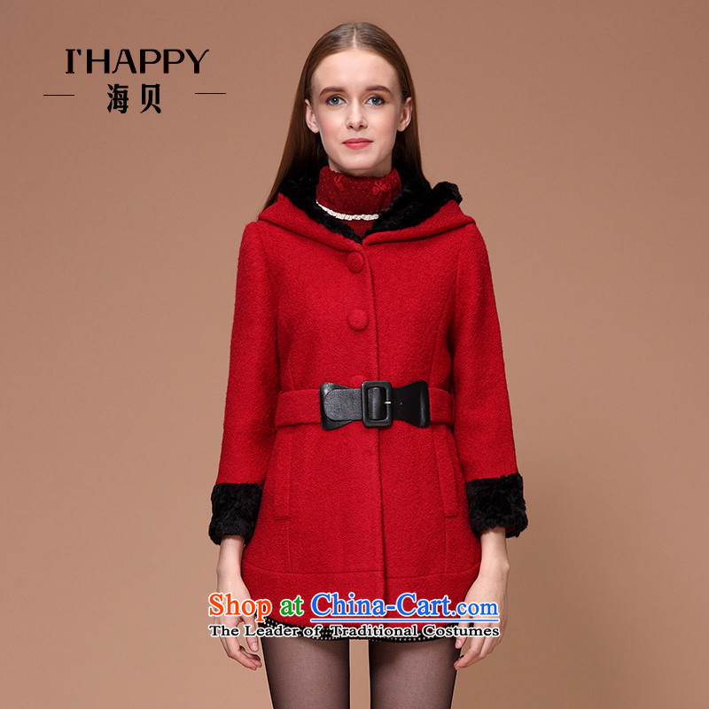 Seashell winter clothing new women's bow ties with cap wool gross wine red jacket coat?燲L