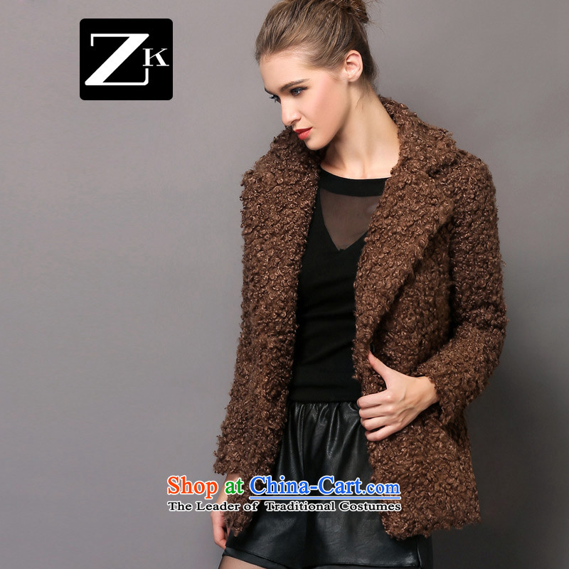 Zk Western women�15 Fall_Winter Collections of new small-wind jacket girl in gross? Long aristocratic wind a wool coat deep coffee-colored燤