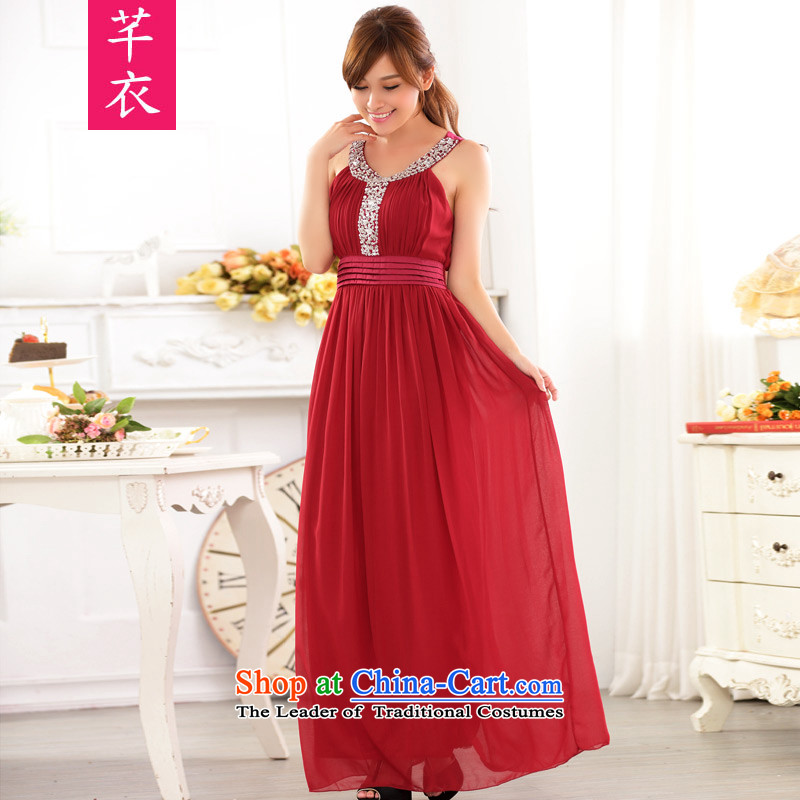 Xl female kumabito 2015 new Western wind round-neck collar to manually staple large bright pearl drill chiffon thick sister xl gown dresses are Code Red聽90-120 catty