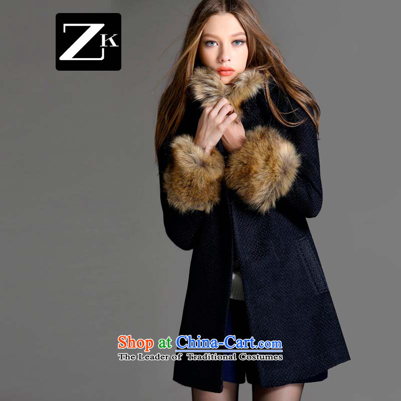 Zk Western women2015 Fall_Winter Collections new cap gross girls jacket? long hair? coat a wool coat Dark BlueM