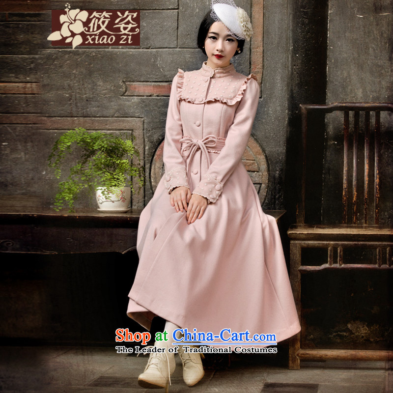 Gigi Lai Siu- 2015 autumn and winter retro lady fungus edge gauze bow tie girdles gross? overcoat bare pink PUERTORRICANS pre-sale 35 days_