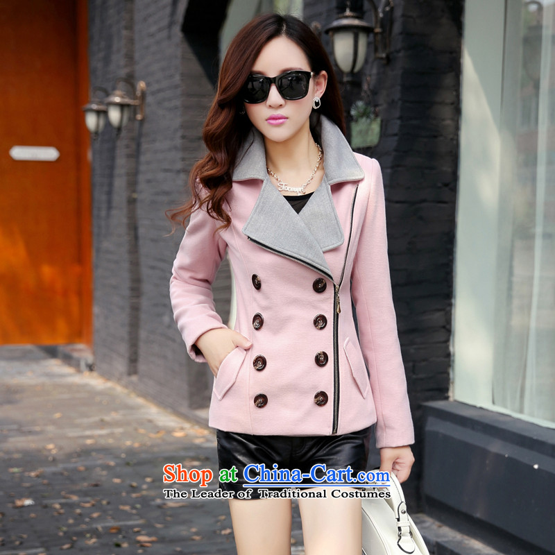Michelle Gellar short of this jacket for winter 2015 new gross jacket Korean Beauty? graphics thin double-large lapel coats jacket coat pink color plane collisionXL