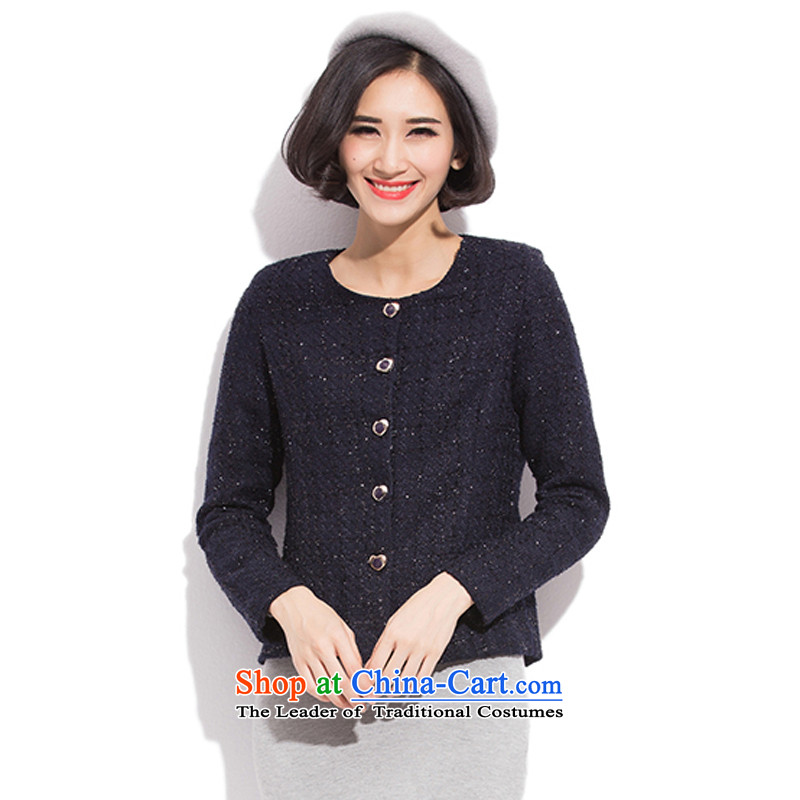 The US and intensify the code women 2015 Autumn replacing the new mm thick small business suit female Korean short of Sau San dark blue suit jacket 2XL