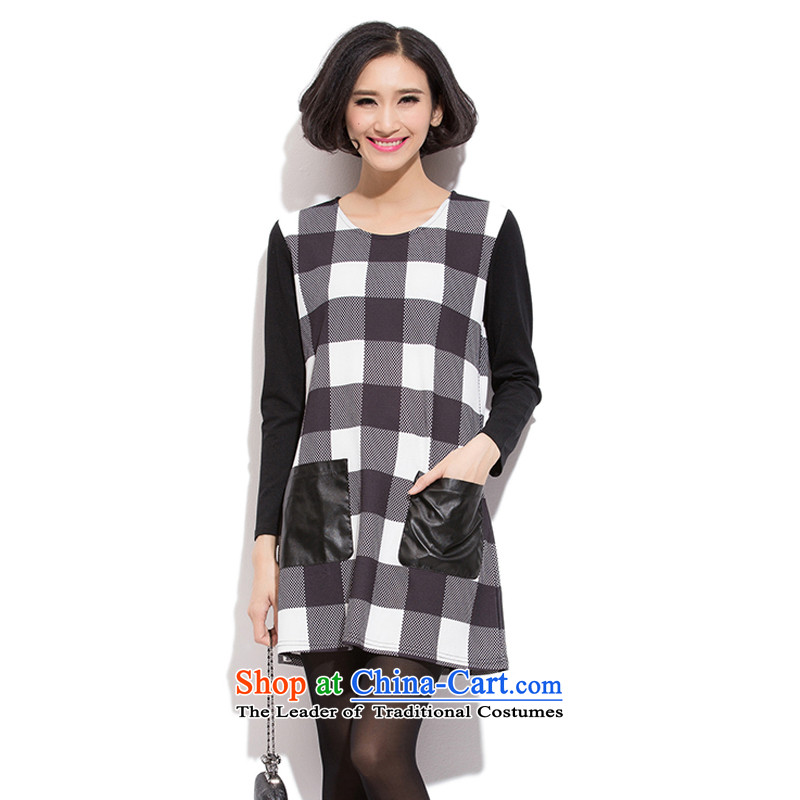 The US and intensify the code women 2015 mm thick new products won 200 catties mm thin stylish long-sleeved grid graphics suits skirts grid forming the 2XL
