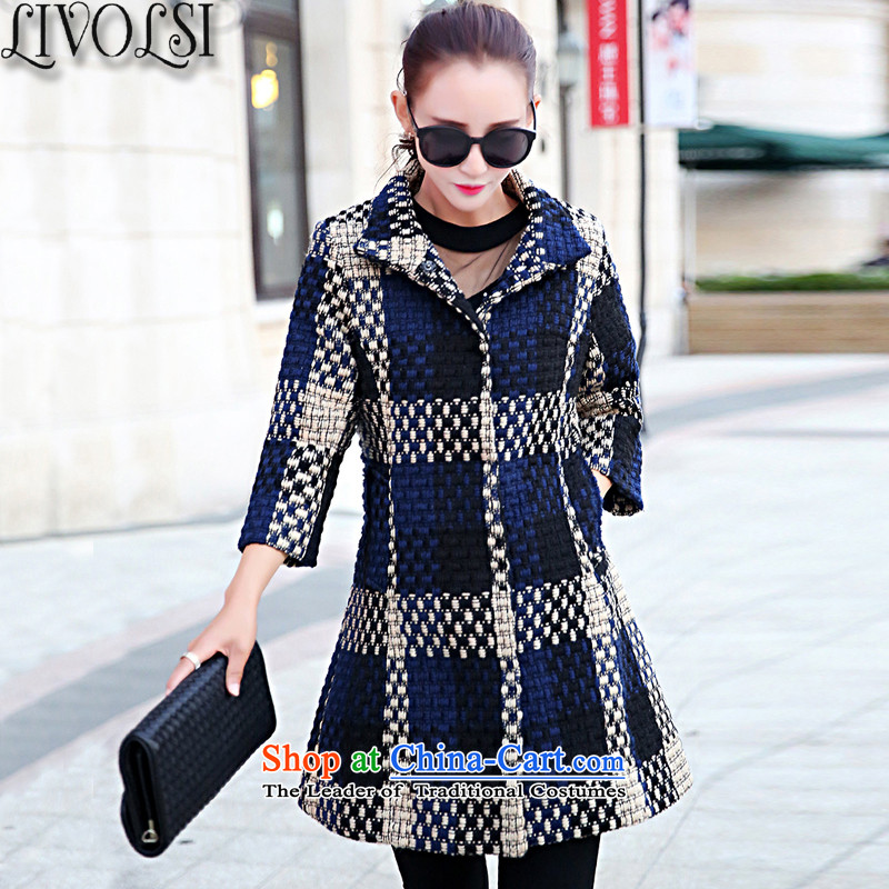 The new 2015 livolsi autumn and winter coats girl in gross? Long Hoodie Korean female 7_Single Row detained a wool coat female picture color�L