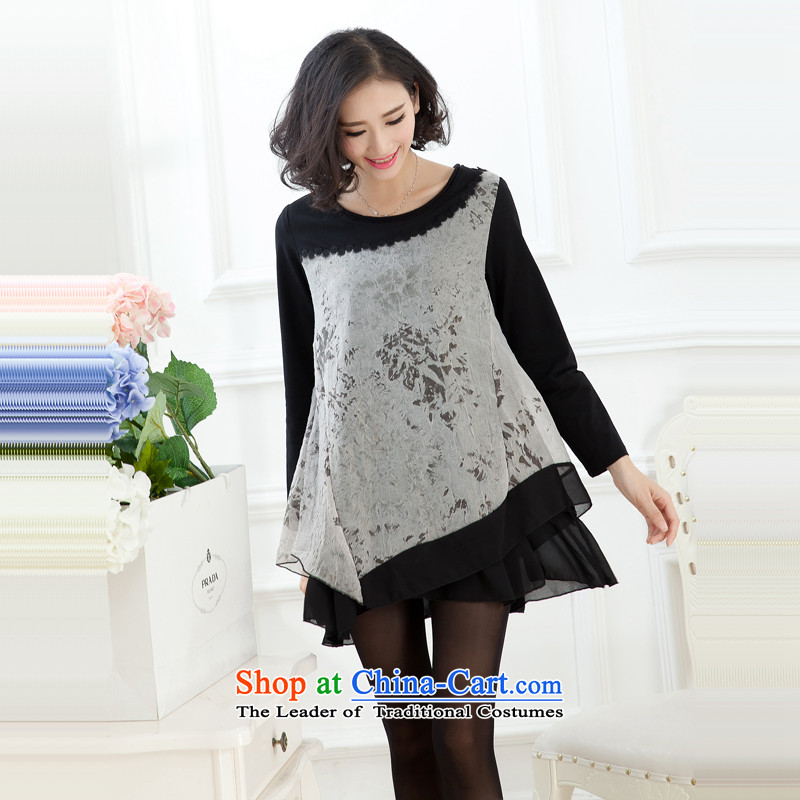 The United States to intensify the xl female mm2015 thick autumn replacing new products chiffon long-sleeved loose video thin spell followed yi skirt Black Gray聽L