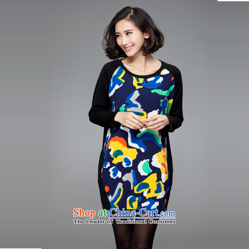 The United States to intensify the xl female thick mm autumn 2015, replacing the new Korean version in digital printing thin long long-sleeved T-shirt suit2XL