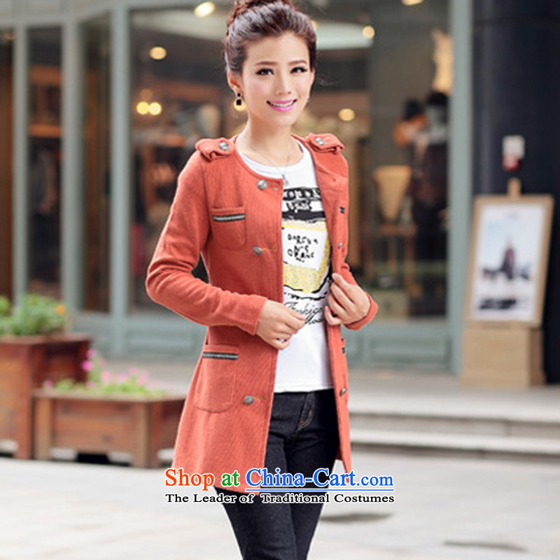The US and intensify the code women thick mm2015 new fall in Korean jacket long knitwear cardigan wild video thin coat orangeL