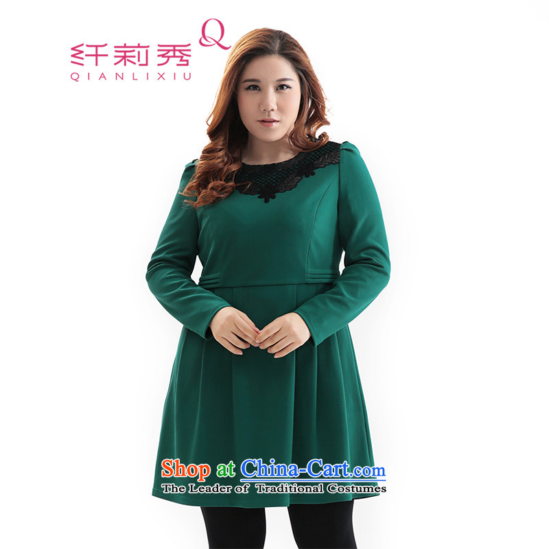 The former Yugoslavia Li Sau 2014 autumn and winter new larger female lace round-neck collar video thin long-sleeved round-neck collar dresses Q6280 green?2XL