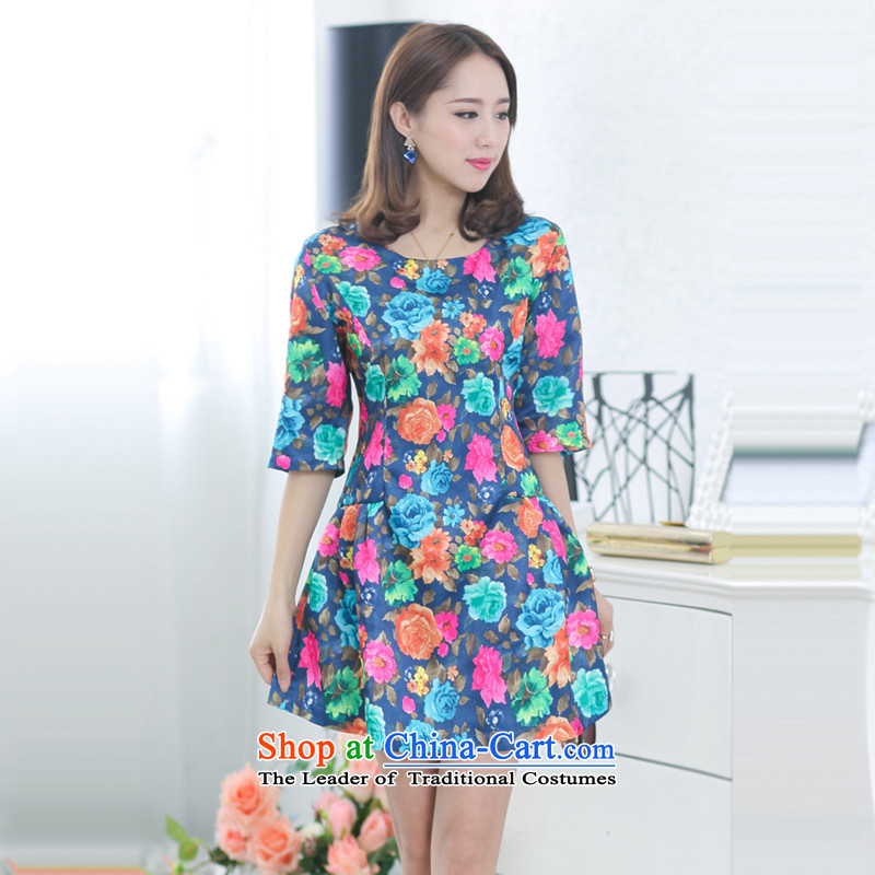 Increase the US Centers for summer 2015 mm larger female thick sister dresses Sau San video thin rose saika3XL Suit