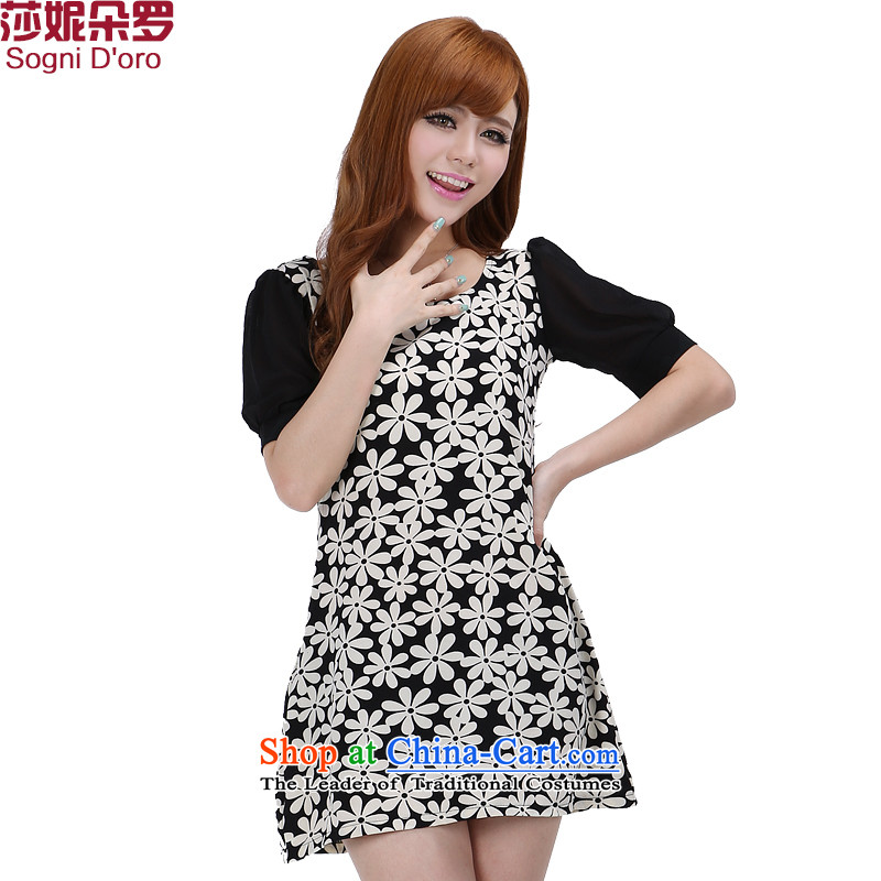 Shani flower, offer thick sister larger female thick mm Summer 2014 Korean chiffon cuff video thin dresses 6231聽5XL Pattern