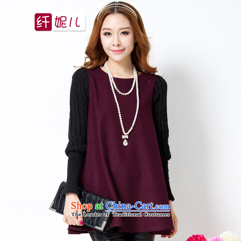 In the former Yugoslavia and the 2014 autumn and winter Connie new larger female xl won small loose video thin long-sleeved shirt thick sweater, forming the Netherlands q5004 dark red XL
