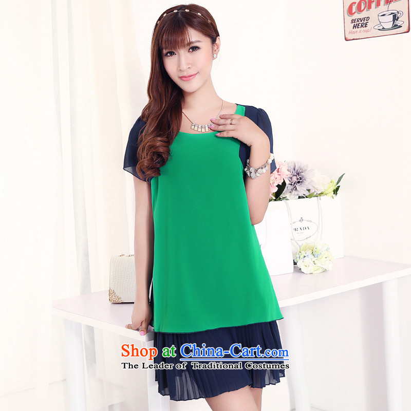 Increase the US Centers for summer 2015 mm new xl women like Susy Nagle sister thick snow woven skirts suits knocked color stitching green4XL