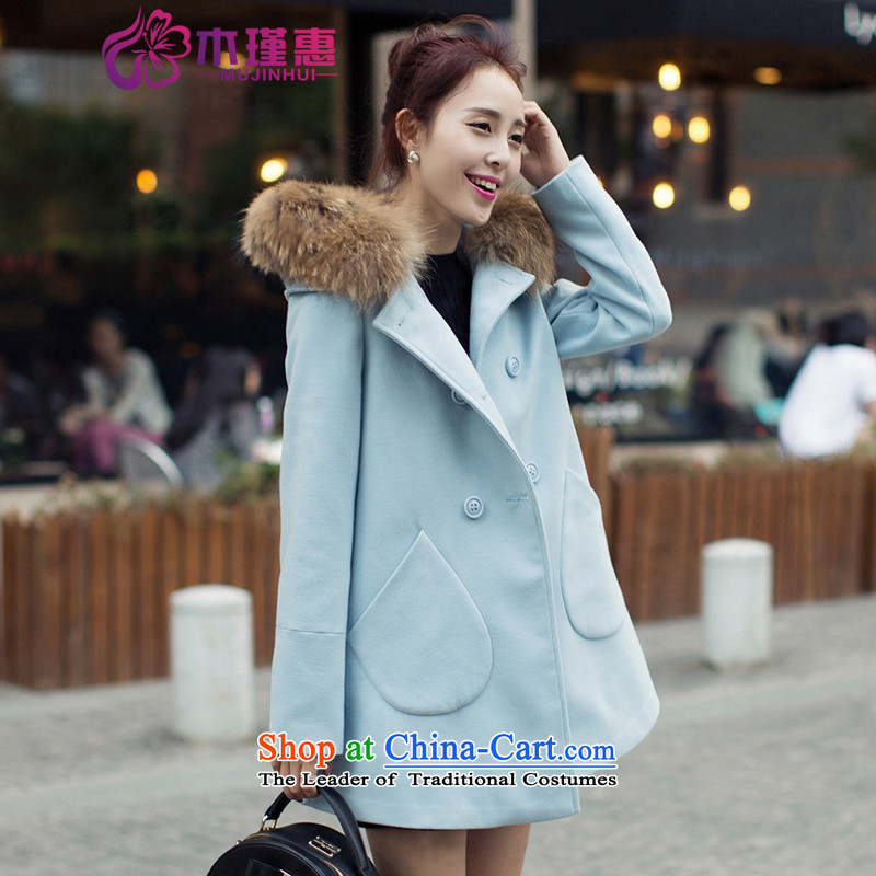 Ms. Geun-hye? 2015 autumn and winter coats new gross jacket version won? long overcoat for women 1111 Blue M
