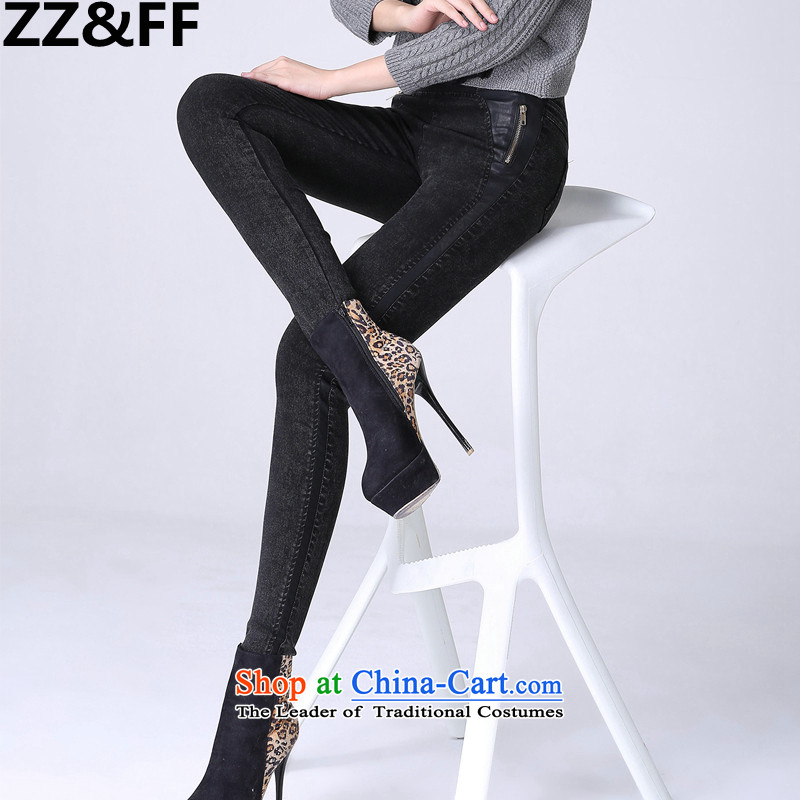 Install the latest Autumn 2015 Zz&ff) to increase the number of women with thick mm thin pencil trousers ere graphics jeans pants black L