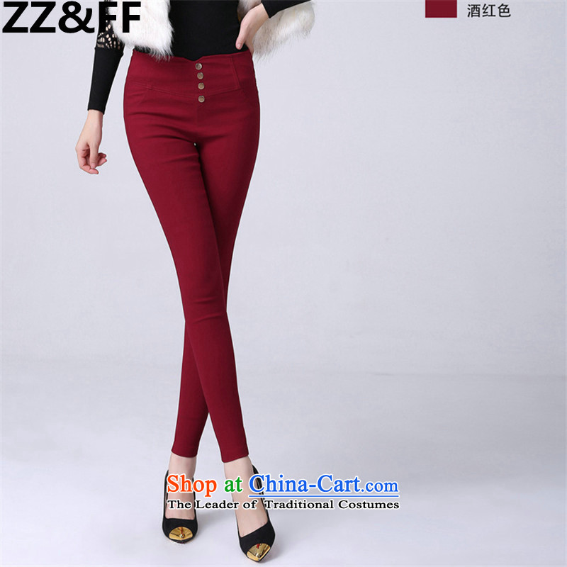 Install the latest Autumn 2015 Zz_ff_ to increase the number of women with thick mm thick and lint-free high-lumbar large leisure wear elastic castor trousers wine red聽XXXL