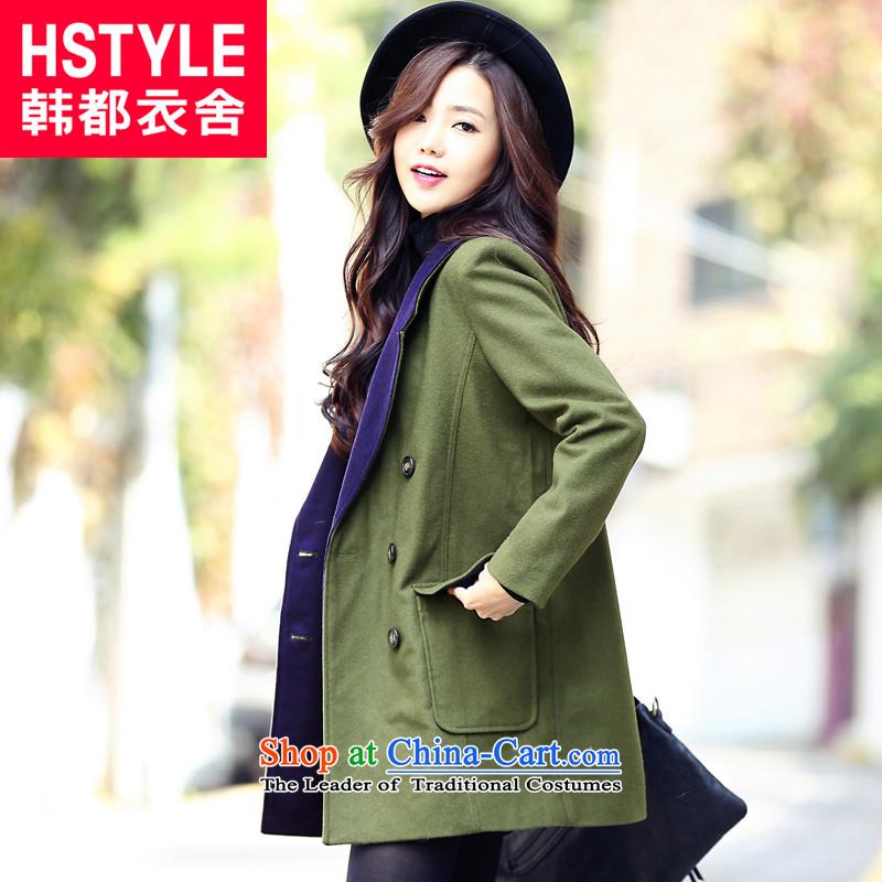 Korea has the Korean version of the Dag Hammarskj枚ld yi 2015 winter clothing new women's solid color Korean straight jacket LF3241?_2_ gross聽olive green聽M