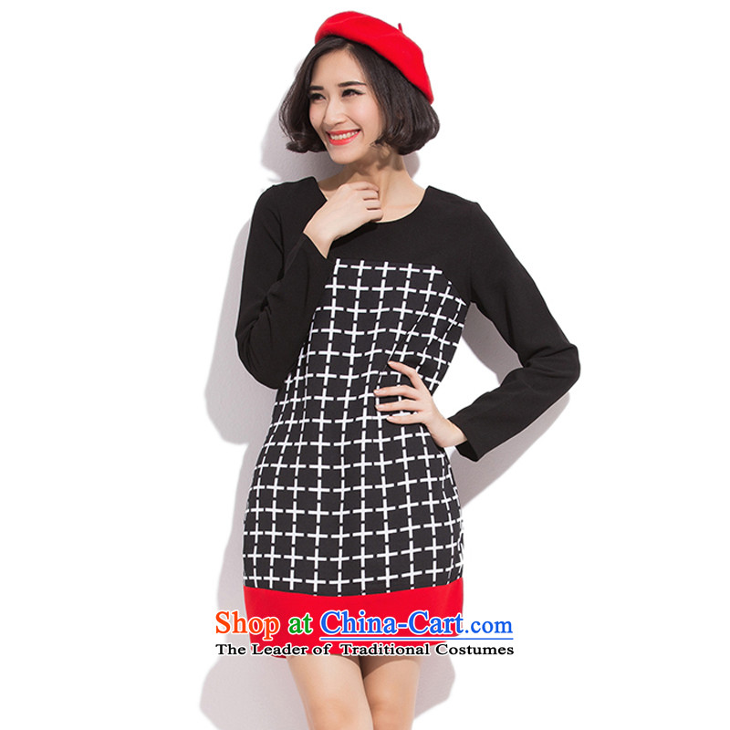 Maximum number of ladies mm thick winter 2015 to intensify the autumn and winter thick sister Han version thin long-sleeved knitted dresses聽200 catties thick mm thin solid black聽L graphics
