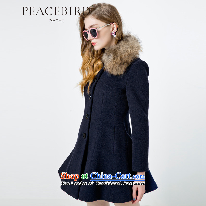 - New shining peacebird Women's Health 2014 winter clothing new single row detained coats A4AA44518 navy?S