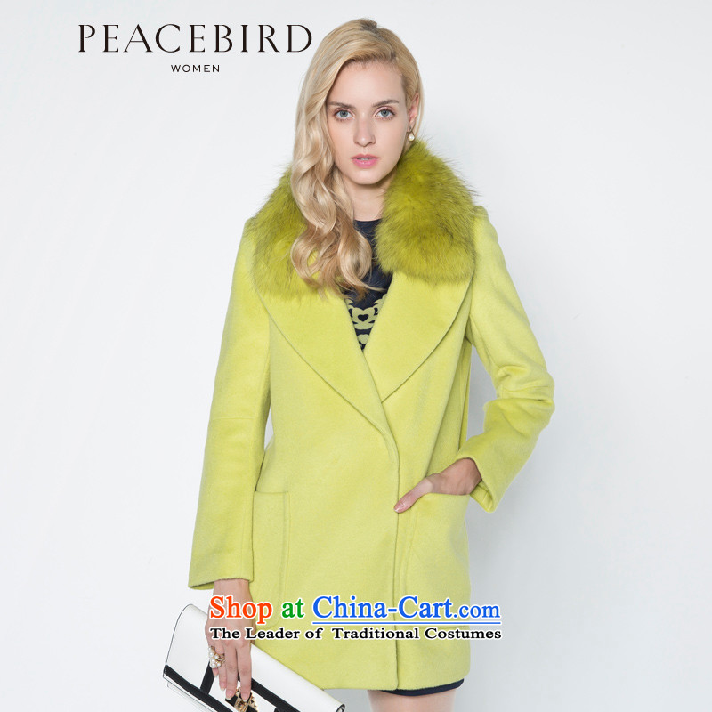 - New shining peacebird Women's Health 2014 winter clothing new lapel coats A4AA44513 GREEN燬
