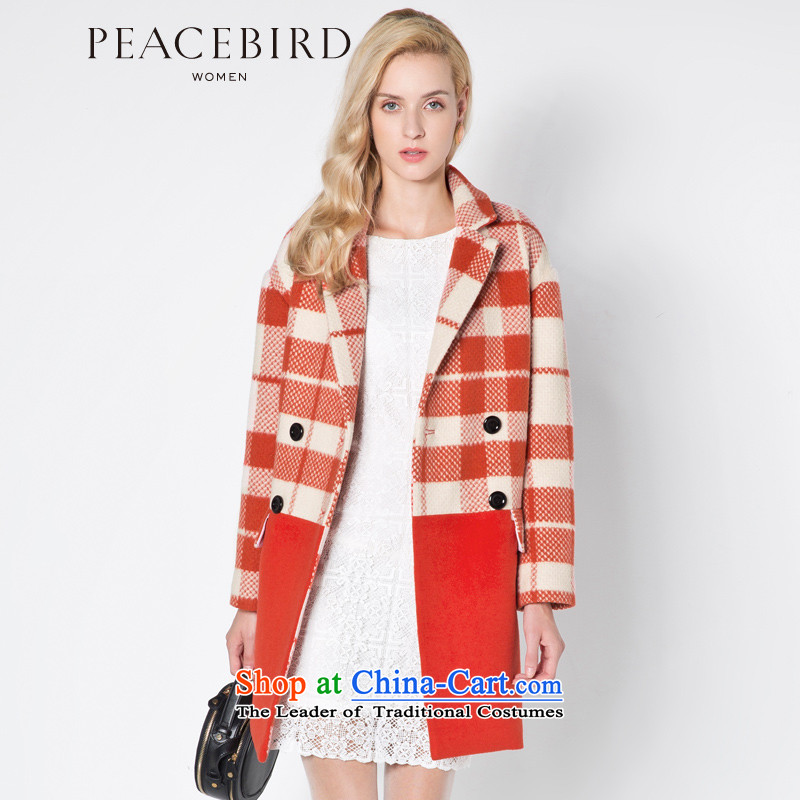 [ New shining peacebird Women's Health 2014 winter clothing new plaid coats A4AA44546 red plaid M