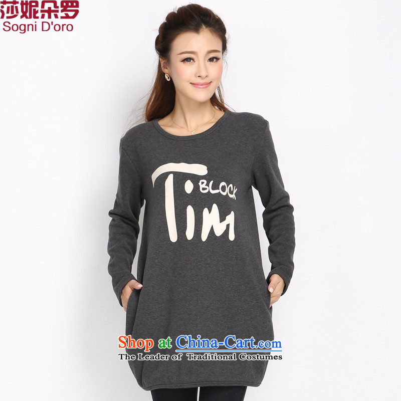 Luo Shani flower code women sweater female thick winter clothing Korean sister to intensify the thick plus lint-free thick mm Warm long-sleeved T-shirt women 5019�L Gray
