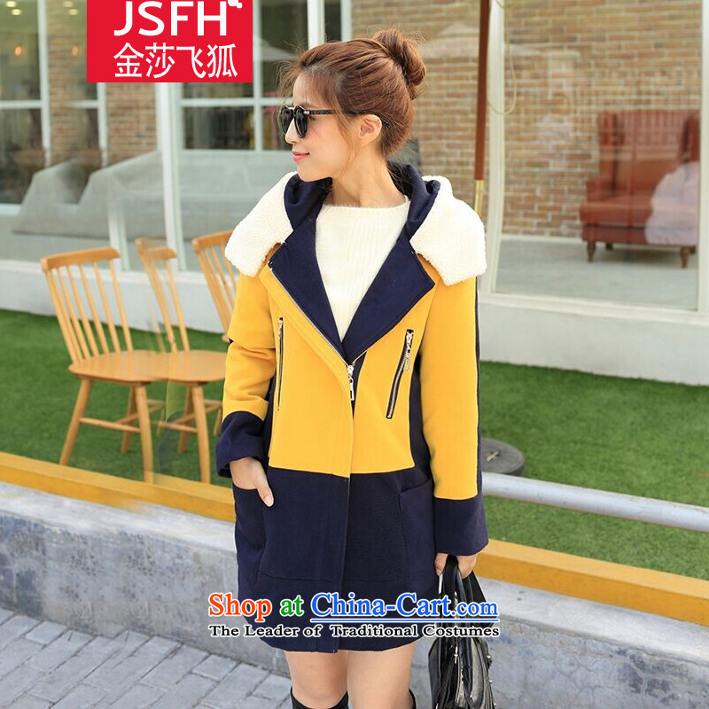 The Flying Fox Of The Jinsha聽autumn 2014 new product version won Sau San knocked color stitching gross? jacket female聽606聽yellow聽XXL