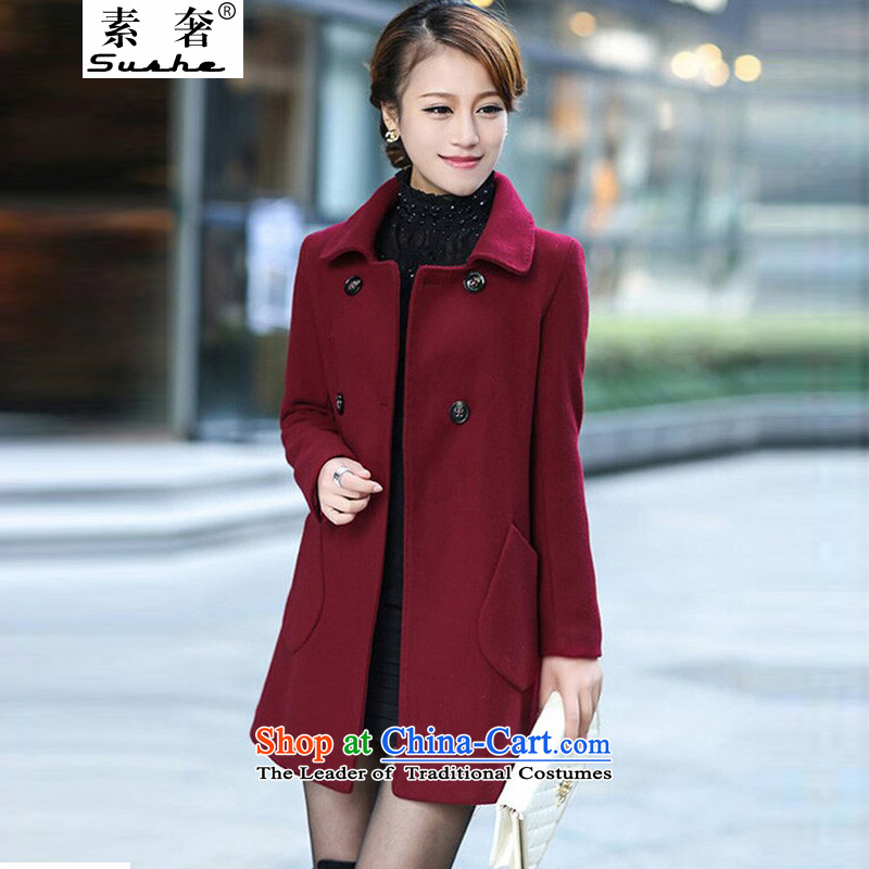 The extravagance of 2015 autumn and winter new wool coat in the medium to long term, so the Korean version of Sau San large thick Women's Maroon聽3XL