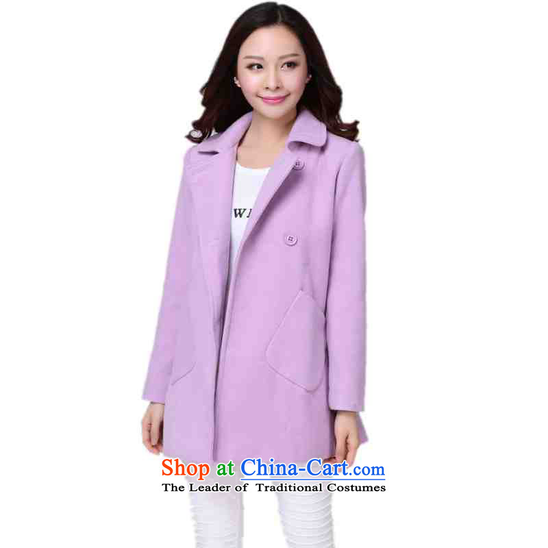 C.o.d. plus obesity mm gross coats Korean? 2015 Fall/Winter Collections new double-lady jacket OL temperament leisure. long coats ofapproximately 140-155 2XL purple catty