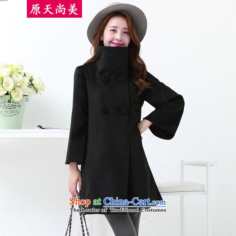 The original days Sang-miautumn and winter 2015 Women's version of the Sau San gentlewoman temperament pure color collar coats femaleCC3601859 gross?BlackM