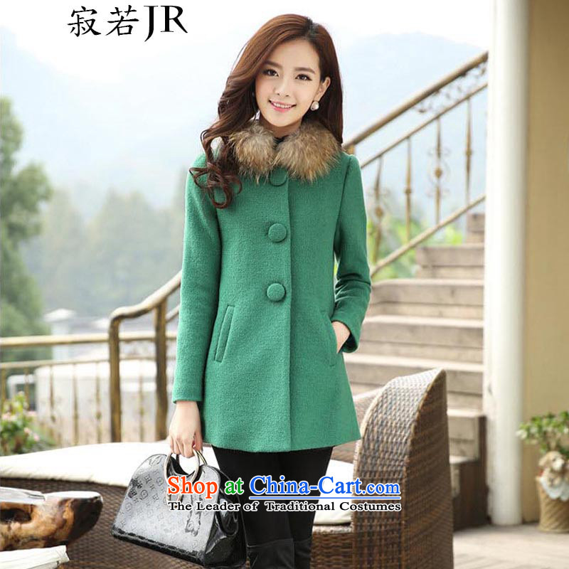 Lonely if gross?2014 autumn and winter coats female new Korean fashion for pure colors on the Nagymaros single row is long jacket,215greenL