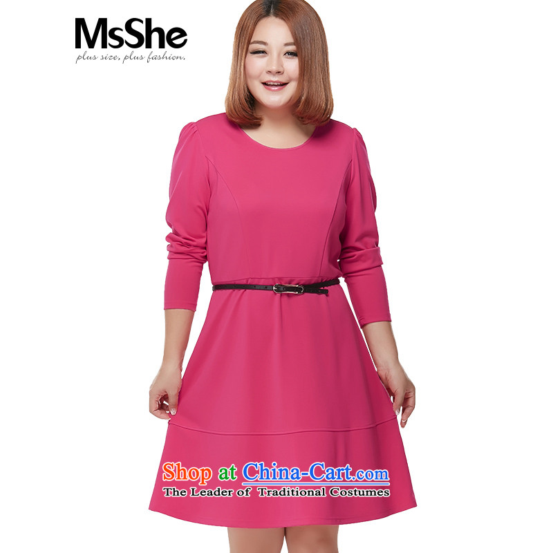 Msshe xl women 2015 Autumn replacing the new MM thick video thin long-sleeved A swing temperament dresses�L 2209 Red