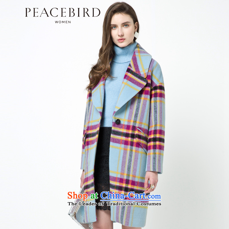 [ New shining peacebird Women's Health 2014 winter clothing new red cloak A4AA44576 plaid red plaid L