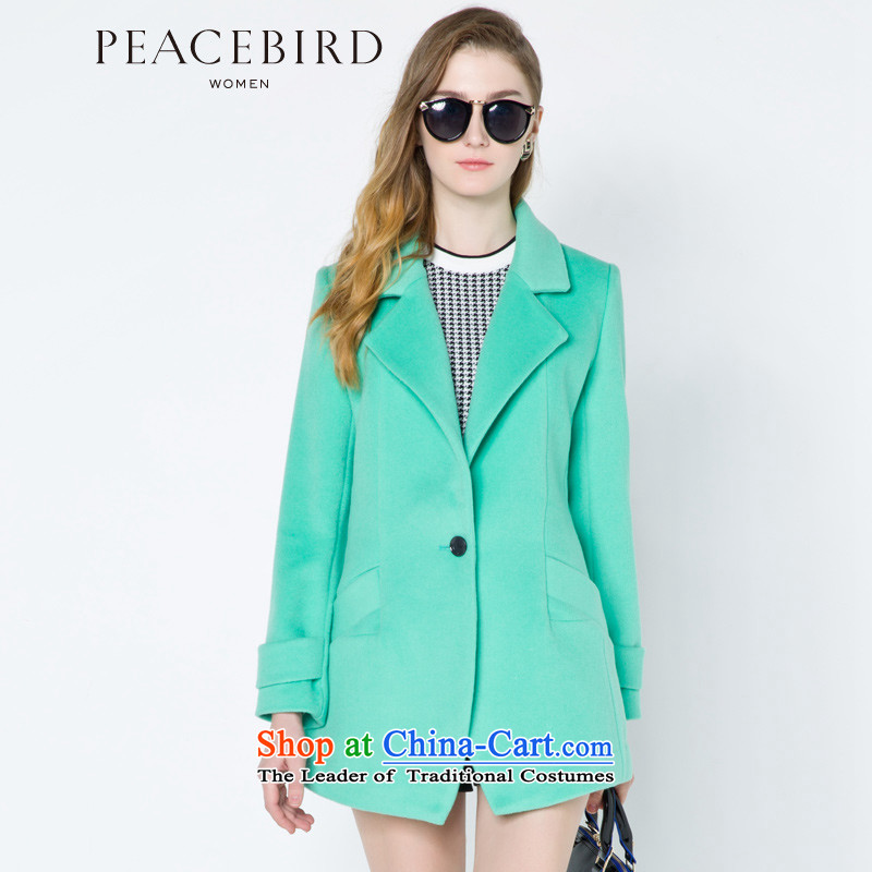 - New shining peacebird women's health lapel coats A4AA44581 GREEN燬