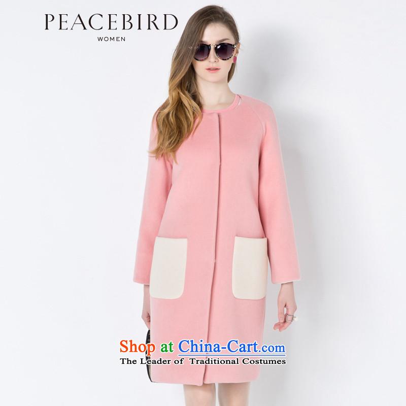 [ New shining peacebird women's health for winter round-neck collar long coats A4AA44593 pinkS