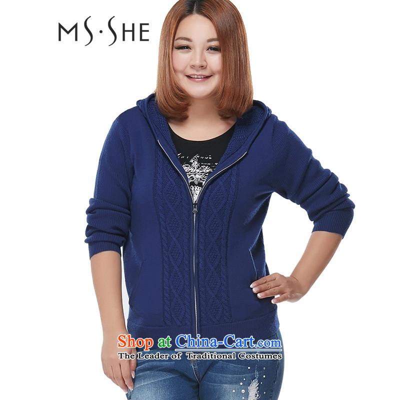 Msshe xl women 2015 Autumn new geometric patterns of Sau San with cap blue sweater coat 7835�L