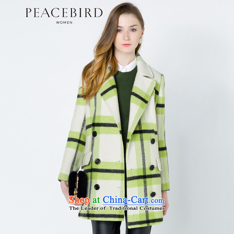 - New shining peacebird Women's Health 2014 winter clothing new lapel plaid coats A4AA44594 green plaid XL