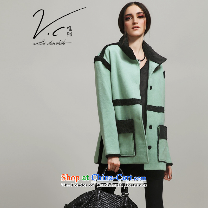 2015 Autumn and winter V.C original design of the new _a wool coat western collar stitching gross coats female mint green?燲L