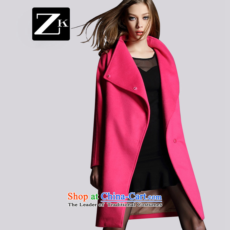 Zk2015 autumn and winter new gross girls jacket? long red? At the beginning of the winter coats gross jacket a wool coat of pink燣