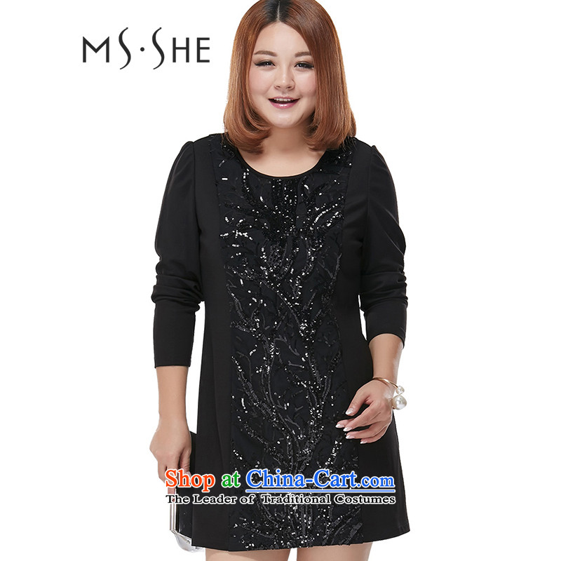 Msshe xl women 2015 Autumn New Light-chip Sau San Fat mm temperament skirt the pre-sale of 2,277 Black 3XL- pre-sale to arrive at 12.10