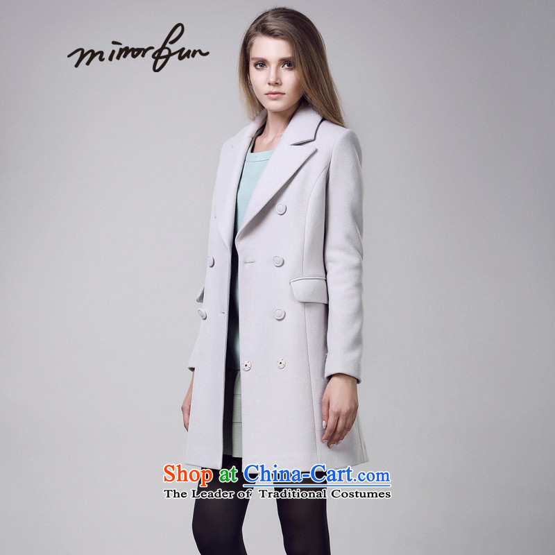 Mirror FUN聽winter clothing new Wild rate of suits for double-H-pure color coats female M44911? Mr Smoke Gray聽M