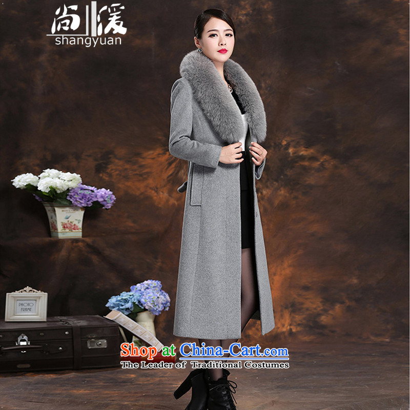 Yet the non-cashmere winter slimming 湲 version fox gross washable wool coat jacket in long?_ Light Gray? XXL catty Paras. 135-145