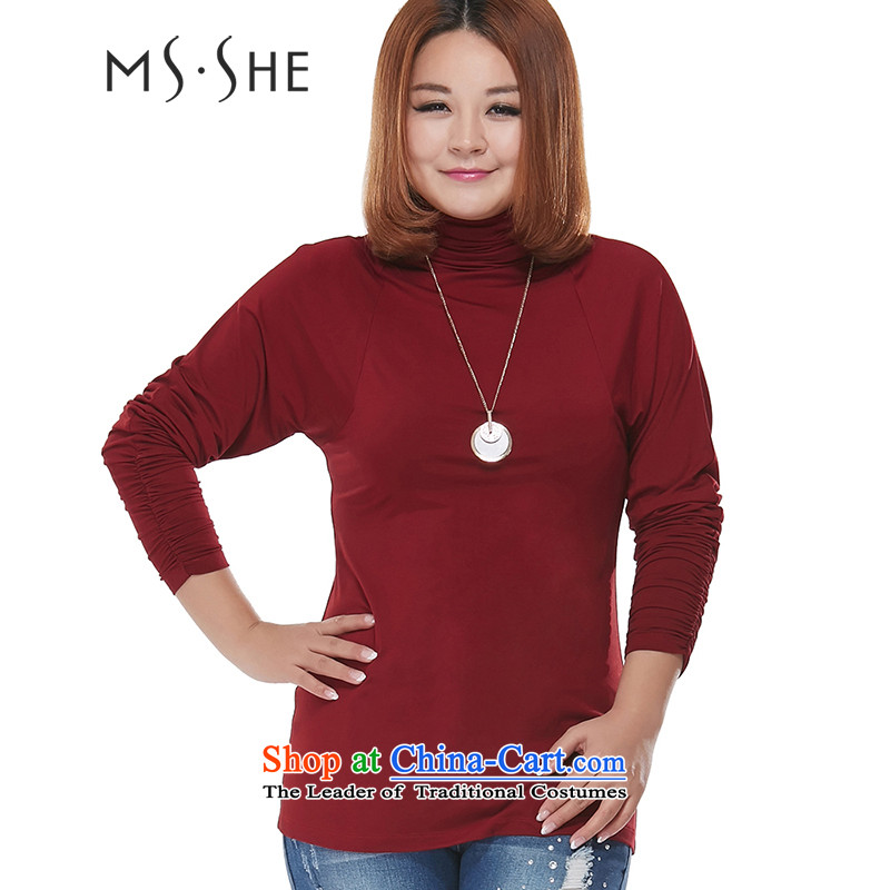 Msshe extra women 2015 new 200 catties fall inside the elastic heap for long-sleeved shirt, forming the Sau San 8115 Bourdeaux 4XL
