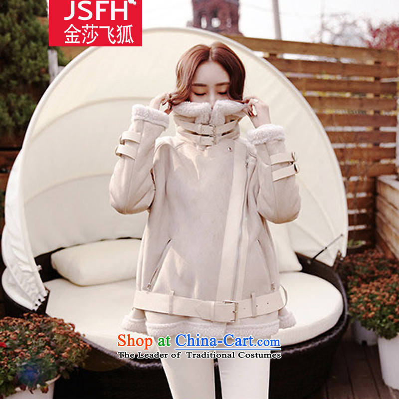 The Flying Fox Of The Jinsha 2014 autumn and winter new Korean collar Lamb Wool a sweet jacket female 257 Sau San rice flour M
