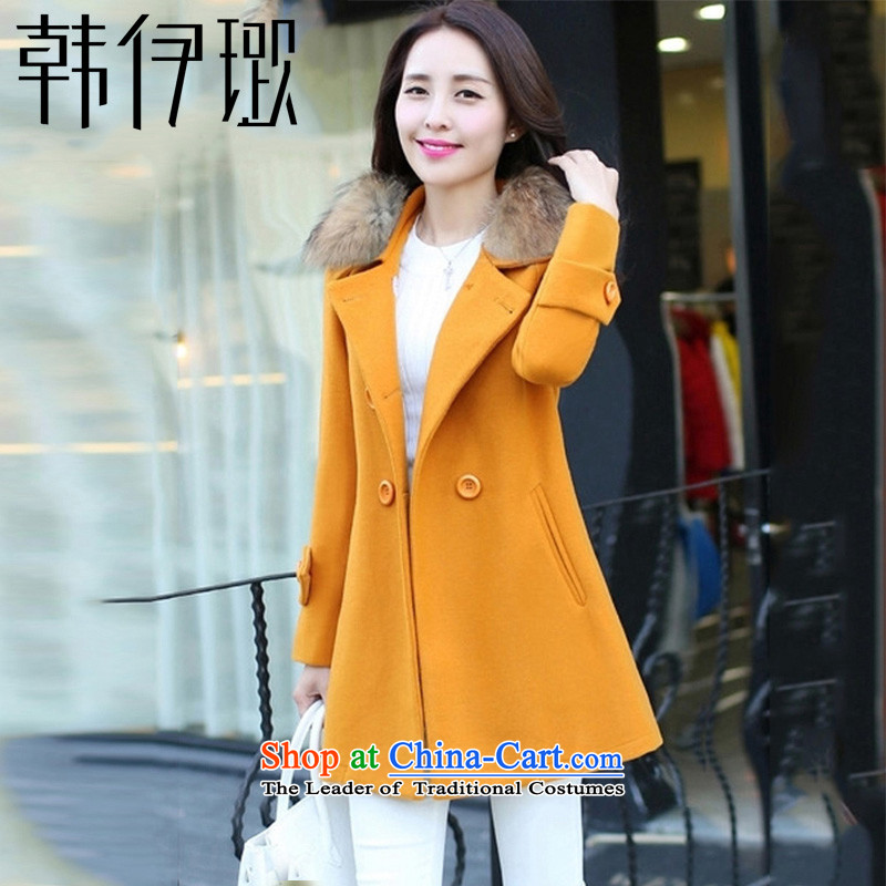 Korea takes this autumn and winter 2015 new_ long larger gross Sau San? a wool coat jacket coat聽9391 female聽ore yellow聽L