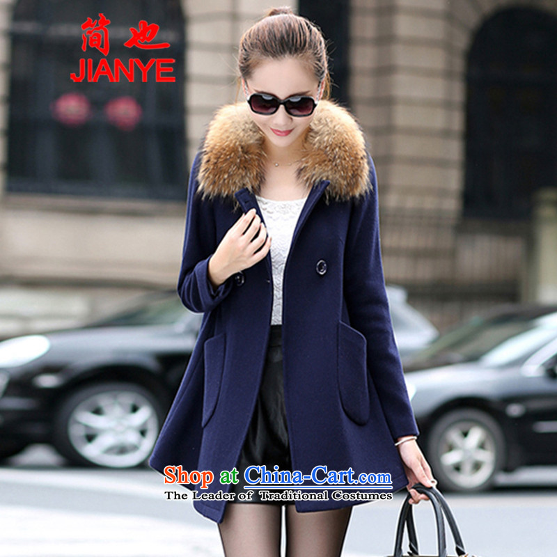 Jane can also聽 load the autumn and winter 2014 new wool a wool coat in the long campaign for female jacket sub gross flows 1843_ Navy聽L