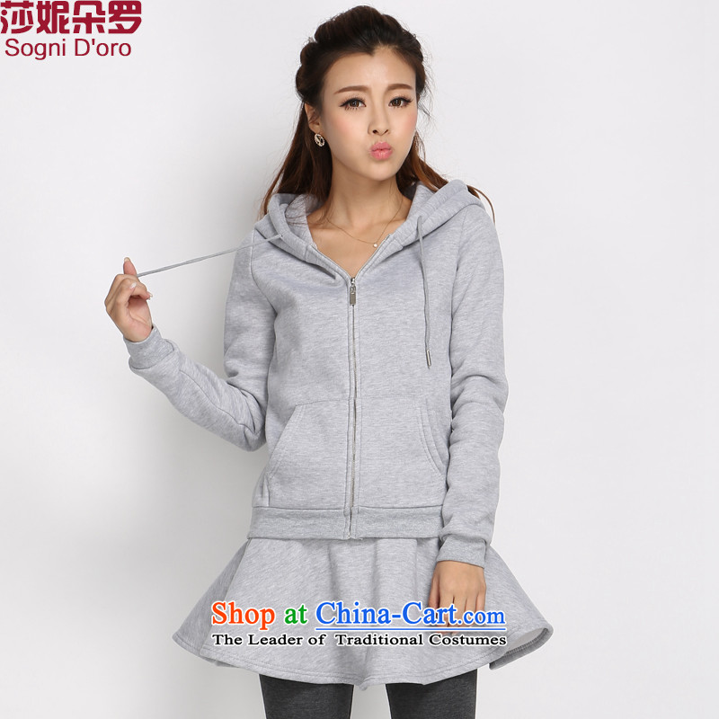 Shani Flower Lo 2014 Fall_Winter Collections of new large leisure wears thick plus lint-free movement of female cap sweater jacket stylish female聽6XL 5028 Light Gray