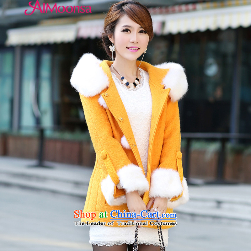 Elizabeth聽2015 winter dream HIV New Maomao wool a wool coat Korean citizenry Gross Gross for Sau San? jacket yellow聽S