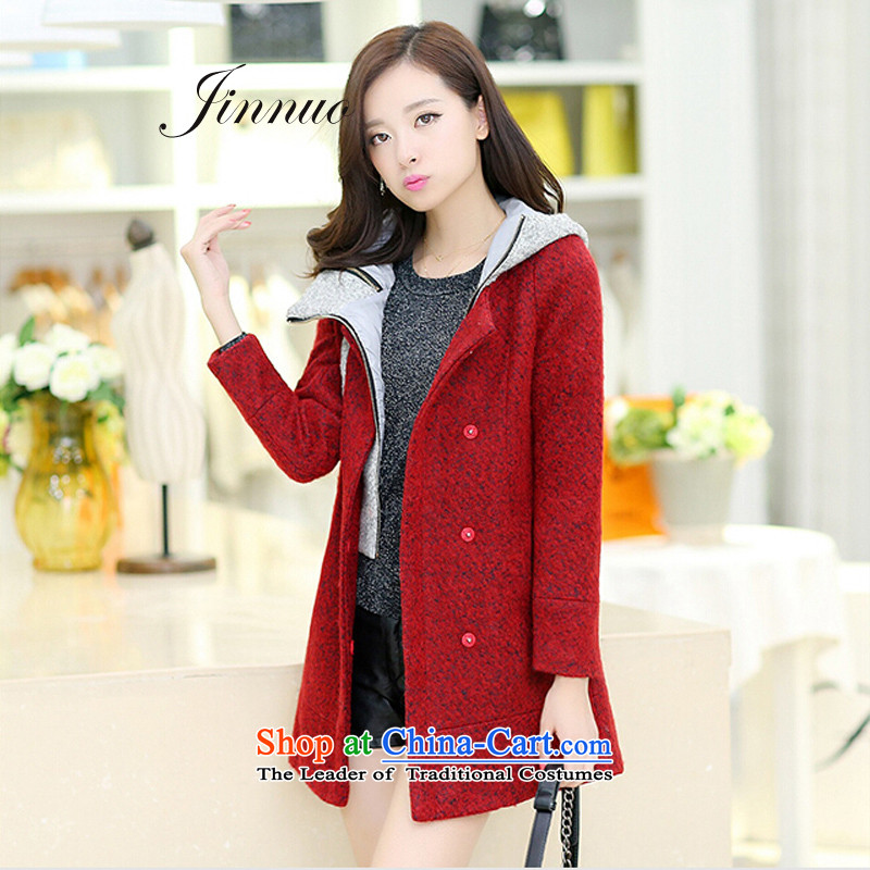The world of Kam Yuet autumn and winter New Sau San video thin pink color with cap in the Spell Checker long female wool a wool coat wind jacket counters genuine large Korean sweet temperament wine redXXL